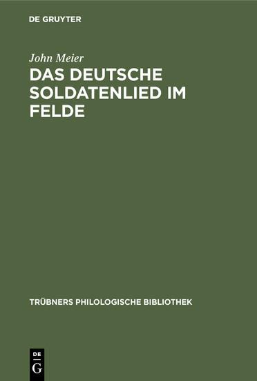 Das deutsche Soldatenlied im Felde - Blick ins Buch