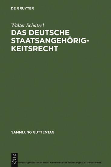 Das deutsche Staatsangehörigkeitsrecht - Blick ins Buch
