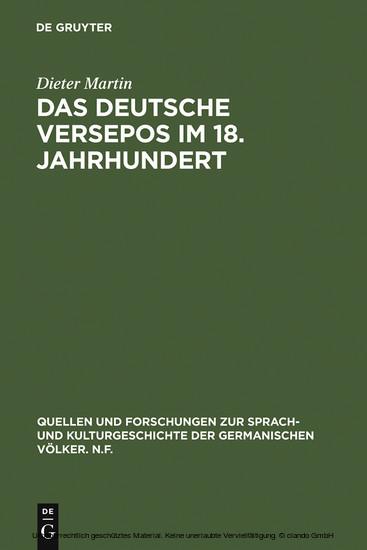 Das deutsche Versepos im 18. Jahrhundert - Blick ins Buch