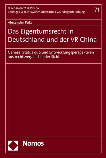 Das Eigentumsrecht in Deutschland und der VR China - Blick ins Buch