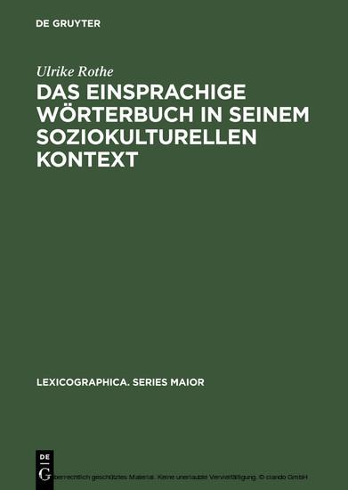 Das einsprachige Wörterbuch in seinem soziokulturellen Kontext - Blick ins Buch