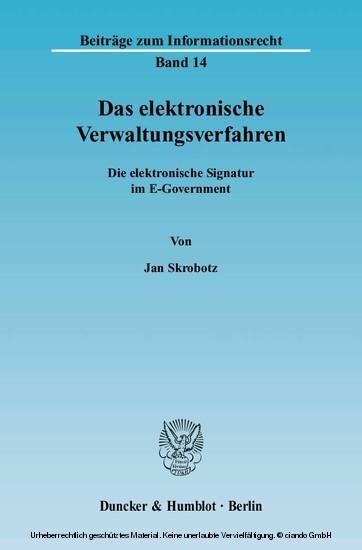 Das elektronische Verwaltungsverfahren. - Blick ins Buch