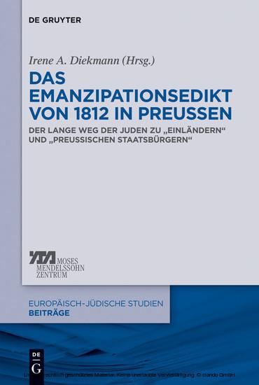 Das Emanzipationsedikt von 1812 in Preußen - Blick ins Buch