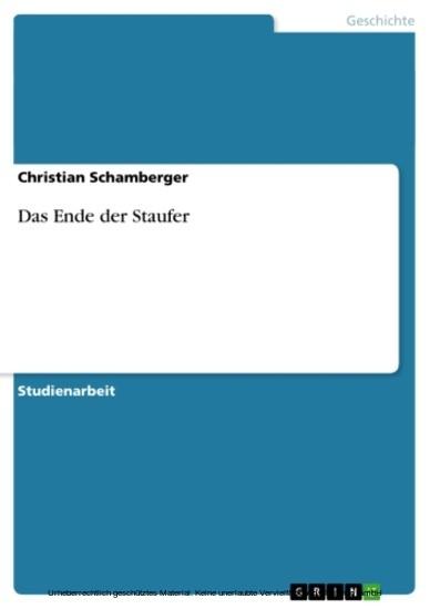 Das Ende der Staufer - Blick ins Buch