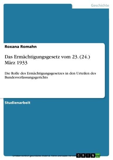 Das Ermächtigungsgesetz vom 23. (24.) März 1933 - Blick ins Buch