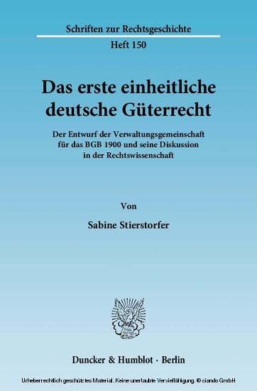 Das erste einheitliche deutsche Güterrecht. - Blick ins Buch