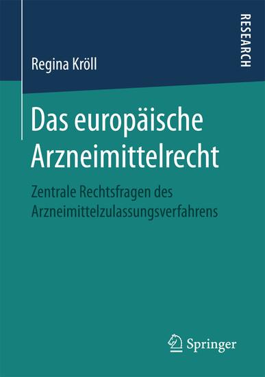 Das europäische Arzneimittelrecht - Blick ins Buch