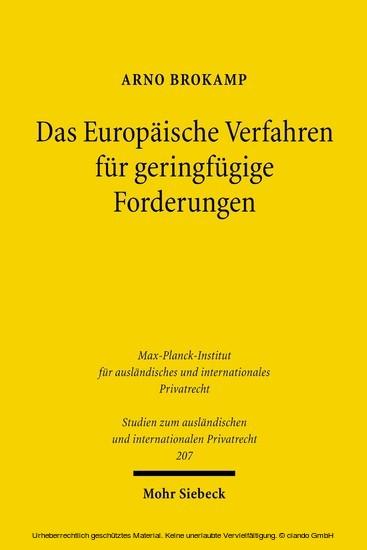 Das Europäische Verfahren für geringfügige Forderungen - Blick ins Buch