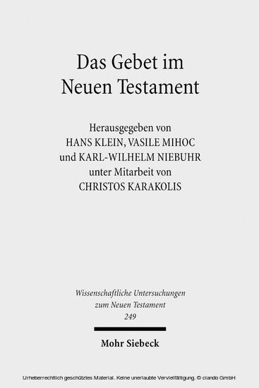 Das Gebet im Neuen Testament - Blick ins Buch