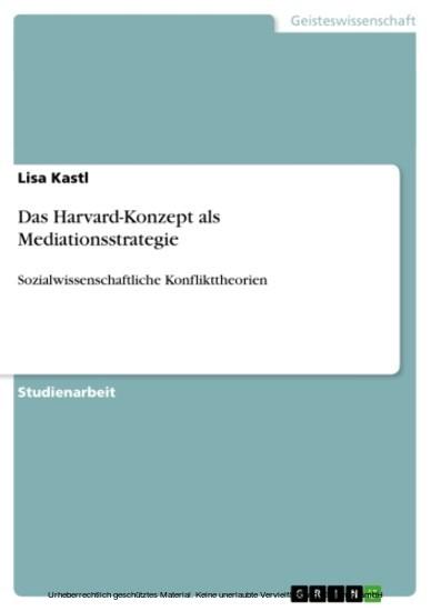 Das Harvard-Konzept als Mediationsstrategie - Blick ins Buch
