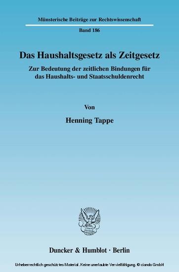 Das Haushaltsgesetz als Zeitgesetz. - Blick ins Buch
