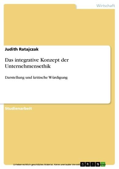 Das integrative Konzept der Unternehmensethik - Blick ins Buch