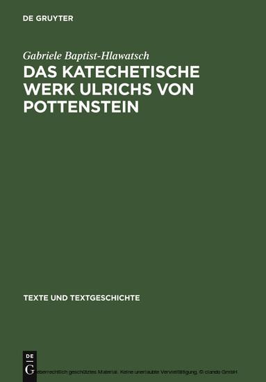 Das katechetische Werk Ulrichs von Pottenstein - Blick ins Buch