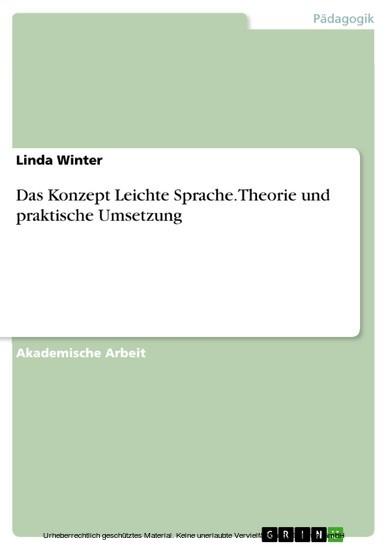 Das Konzept Leichte Sprache. Theorie und praktische Umsetzung - Blick ins Buch