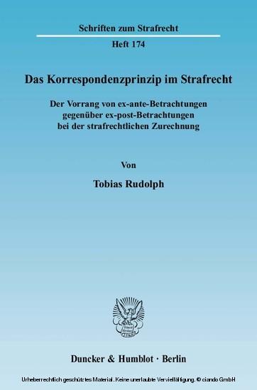 Das Korrespondenzprinzip im Strafrecht. - Blick ins Buch