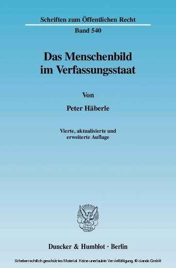 Das Menschenbild im Verfassungsstaat. - Blick ins Buch