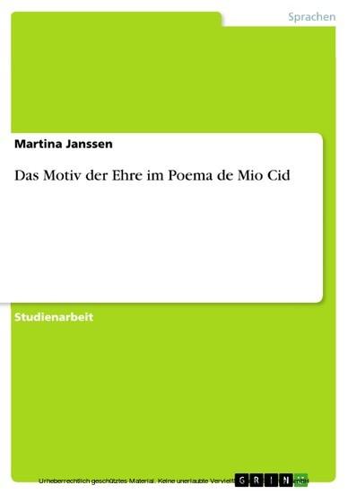 Das Motiv der Ehre im Poema de Mio Cid - Blick ins Buch