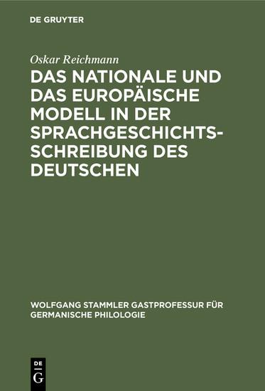 Das nationale und das europäische Modell in der Sprachgeschichtsschreibung des Deutschen - Blick ins Buch