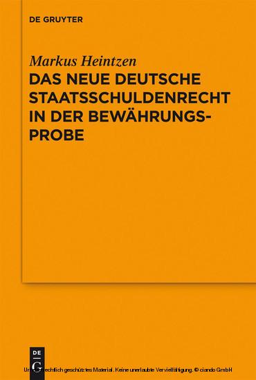 Das neue deutsche Staatsschuldenrecht in der Bewährungsprobe - Blick ins Buch