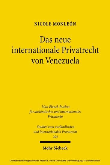 Das neue internationale Privatrecht von Venezuela - Blick ins Buch