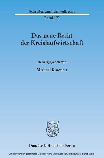 Das neue Recht der Kreislaufwirtschaft. - Blick ins Buch