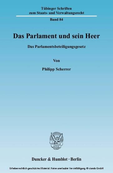 Das Parlament und sein Heer. - Blick ins Buch