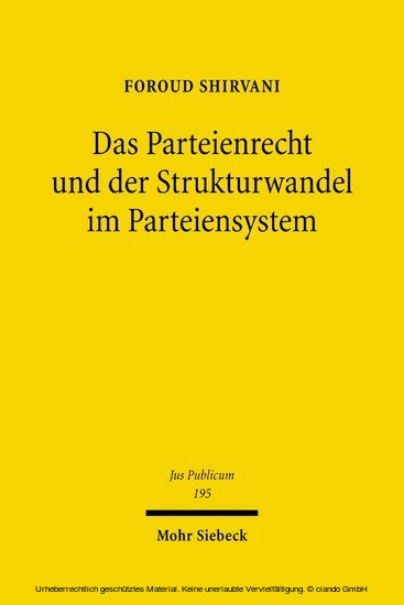 Das Parteienrecht und der Strukturwandel im Parteiensystem - Blick ins Buch