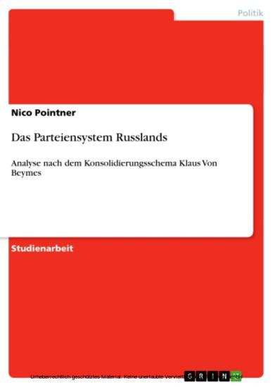 Das Parteiensystem Russlands - Blick ins Buch