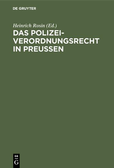 Das Polizeiverordnungsrecht in Preußen - Blick ins Buch