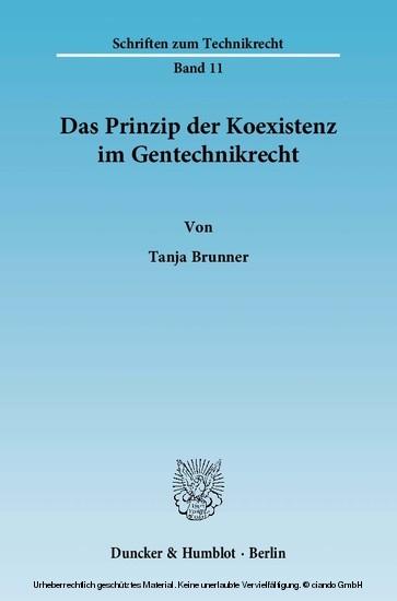 Das Prinzip der Koexistenz im Gentechnikrecht. - Blick ins Buch