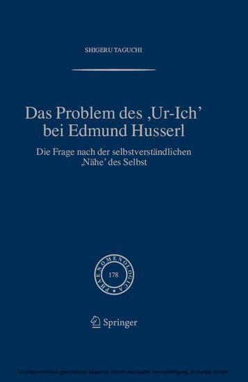 Das Problem des ,Ur-Ich' bei Edmund Husserl - Blick ins Buch
