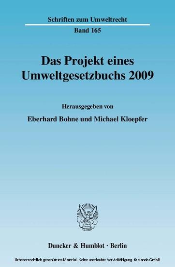 Das Projekt eines Umweltgesetzbuchs 2009. - Blick ins Buch