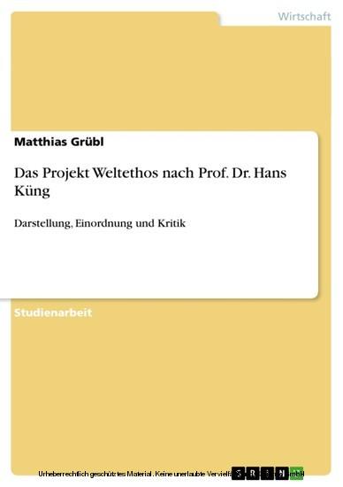 Das Projekt Weltethos nach Prof. Dr. Hans Küng - Blick ins Buch