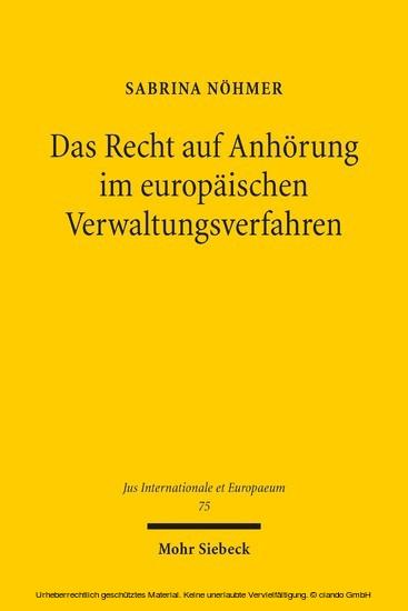 Das Recht auf Anhörung im europäischen Verwaltungsverfahren - Blick ins Buch