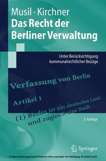 Das Recht der Berliner Verwaltung - Blick ins Buch