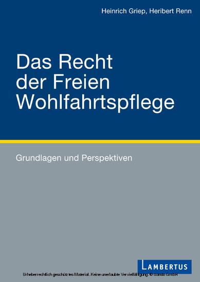 Das Recht der Freien Wohlfahrtspflege - Blick ins Buch