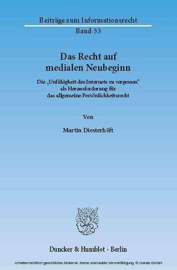 Das Recht auf medialen Neubeginn. - Blick ins Buch