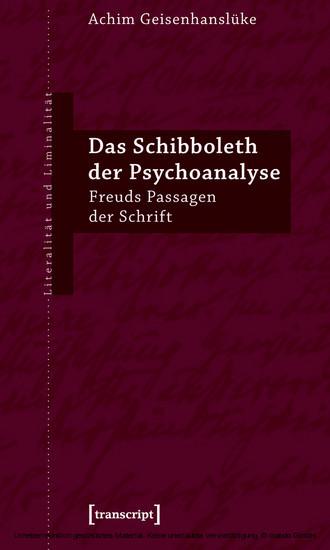 Das Schibboleth der Psychoanalyse - Blick ins Buch