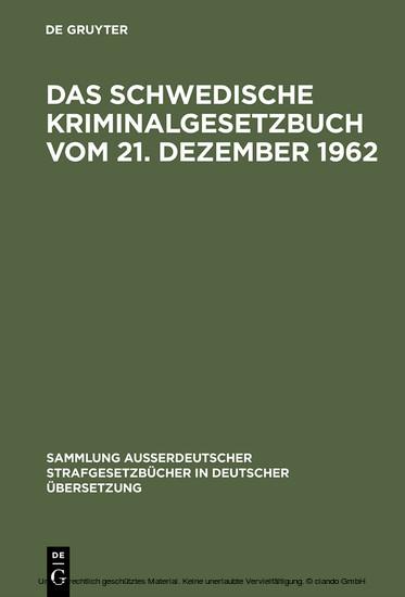 Das schwedische Kriminalgesetzbuch vom 21. Dezember 1962 - Blick ins Buch
