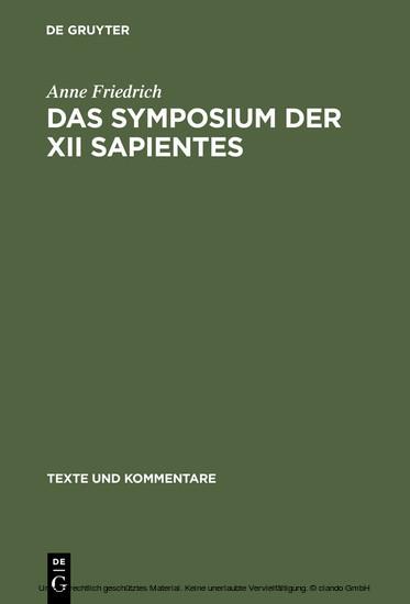 Das Symposium der XII sapientes - Blick ins Buch