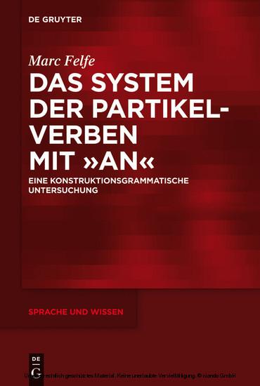 Das System der Partikelverben mit 'an' - Blick ins Buch
