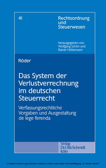 Das System der Verlustverrechnung im deutschen Steuerrecht - Blick ins Buch
