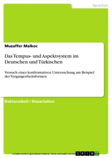 Das Tempus- und Aspektsystem im Deutschen und Türkischen - Blick ins Buch