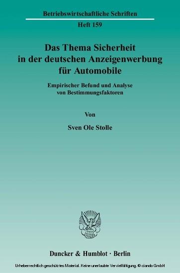 Das Thema Sicherheit in der deutschen Anzeigenwerbung für Automobile. - Blick ins Buch