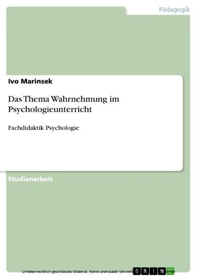 Das Thema Wahrnehmung im Psychologieunterricht - Blick ins Buch