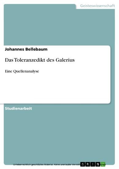 Das Toleranzedikt des Galerius - Blick ins Buch