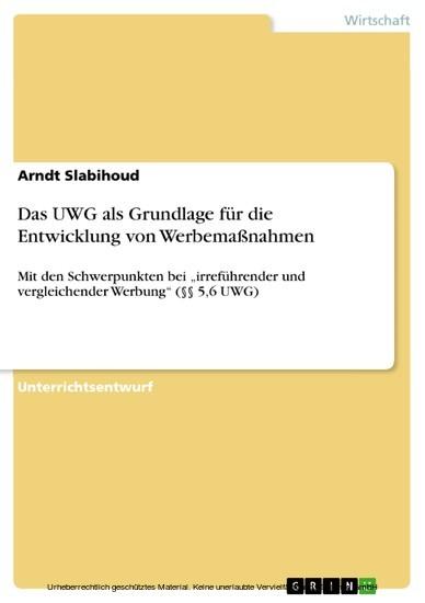 Das UWG als Grundlage für die Entwicklung von Werbemaßnahmen - Blick ins Buch