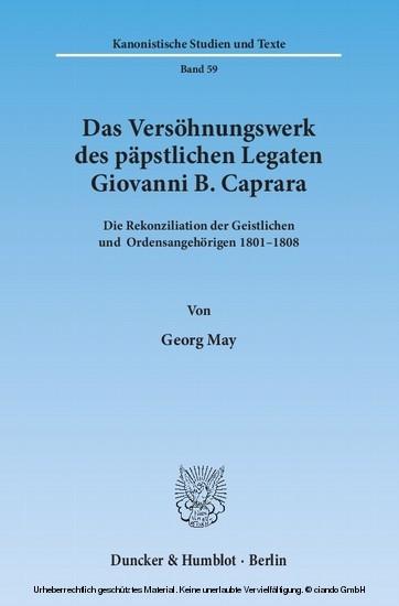 Das Versöhnungswerk des päpstlichen Legaten Giovanni B. Caprara. - Blick ins Buch