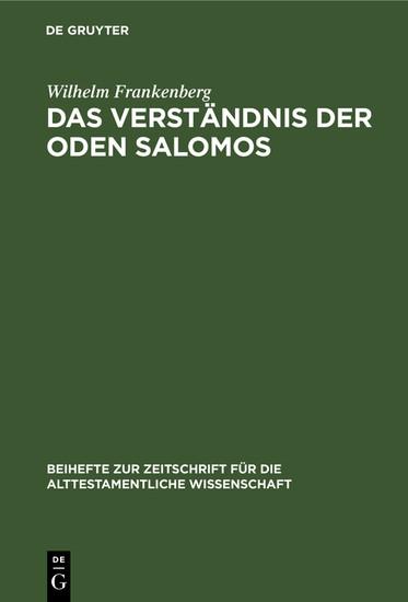 Das Verständnis der Oden Salomos - Blick ins Buch