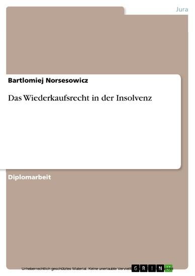Das Wiederkaufsrecht in der Insolvenz - Blick ins Buch